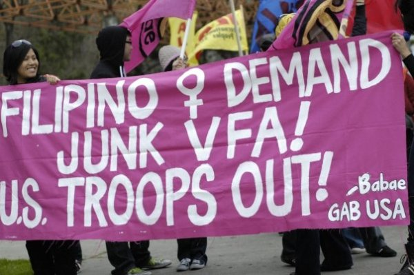 "The Gabriella-USA banner demanding the junking of the ""Visiting Forces Agreement"" between the Philippines and the U.S."