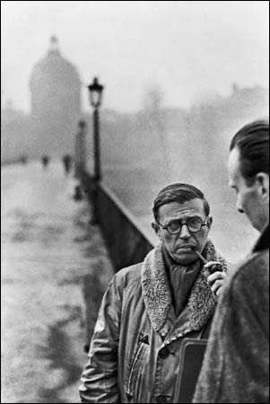 Photo of Jean-Paul Sartre, and his famous pipe, taken by the brilliant Henri Cartier-Bresson