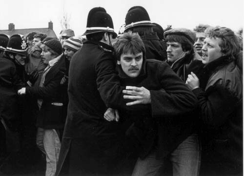 Miners picket outside Port Talbot Steel Works., England on April 3, 1984