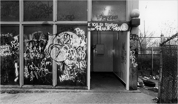 The scene of the 1992 friendly-fire shooting of undercover transit officer Derwin Pannell. He was shot while making an arrest in dimly lighted area to the right of the entry way to the L train station in Canarsie, Booklyn.  (Don Hogan Charles of The New York Times)