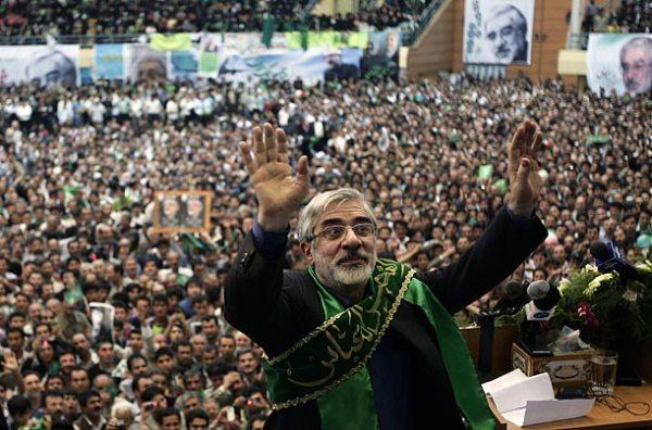Mousavi speaking to a crowd back in early June (Hossein Fatemi/UPI).