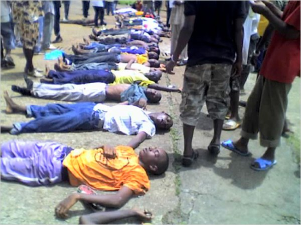 A photo given to The New York Times showed dead bodies after an opposition rally in Conakry, Guinea, on Sept. 28. Human rights officials have estimated that as many as 157 people died.