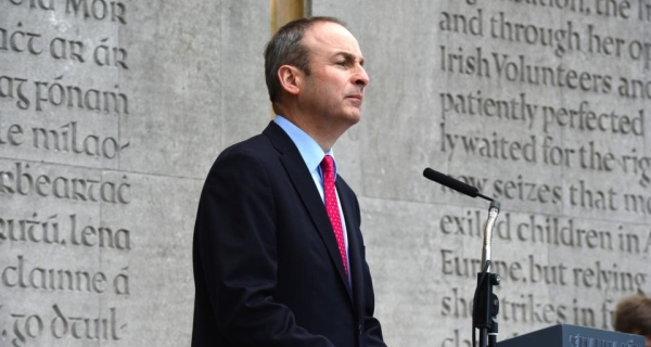 Fianna Fáil leader Micheál Martin asserted today at the party's 1916 commemoration that if people wanted to know where the men and women of 1916 would have stood in later years, they would find out by looking at what they did: taking the route of constitutional republicanism (photo by Cyril Byrne/Irish Times).